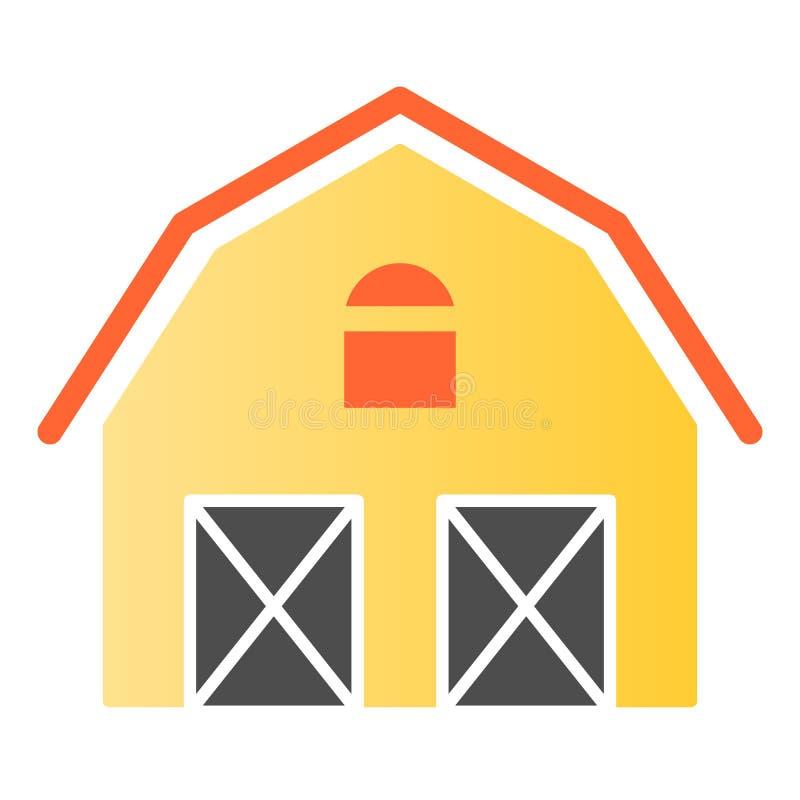 Flache Ikone des Gutshauses Lagerfarbikonen in der modischen flachen Art Scheunensteigungs-Artentwurf, bestimmt für Netz und App stock abbildung