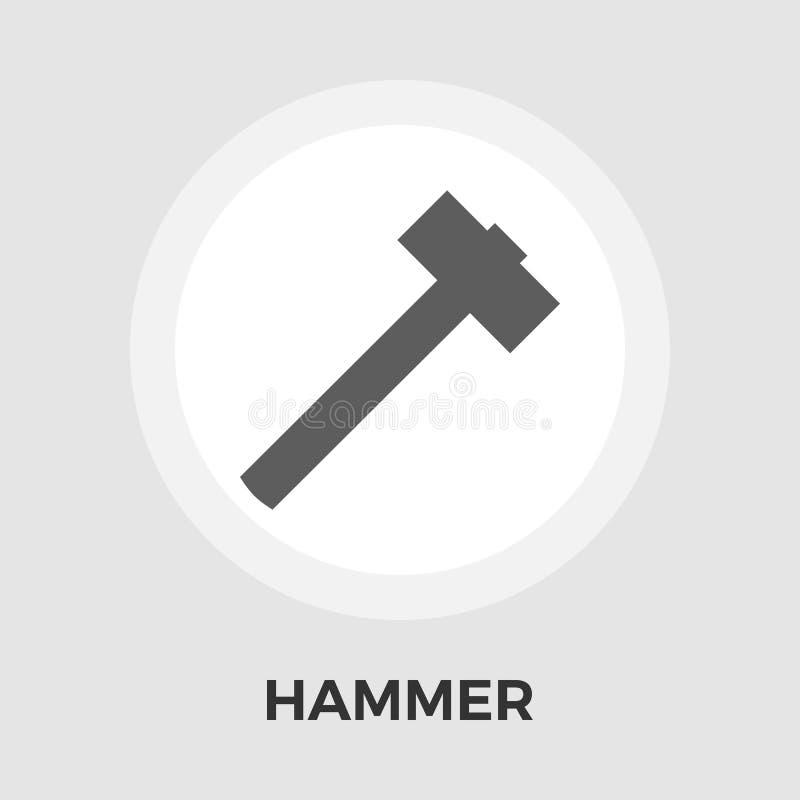 Flache Ikone des Hammers vektor abbildung