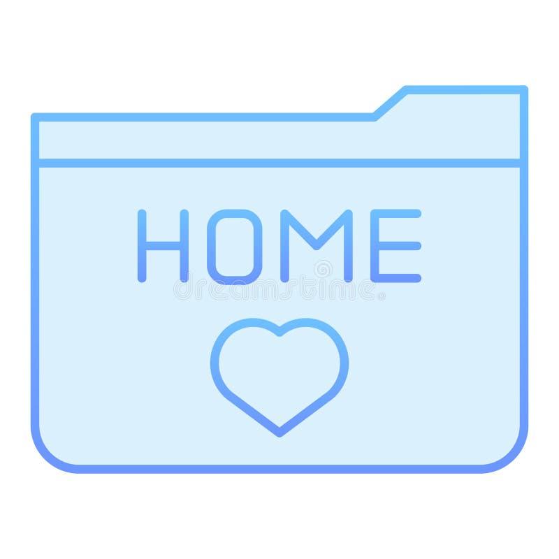 Flache Ikone des Hauptordners Blaue Ikonen der Ordnerlieblinge in der modischen flachen Art Ordner mit Herzsteigungs-Artentwurf vektor abbildung