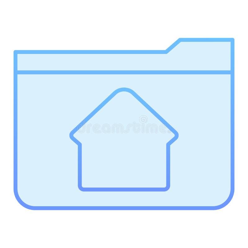 Flache Ikone des Hauptordners Ordner mit blauen Ikonen des Hauses in der modischen flachen Art Computerordnersteigungs-Artentwurf stock abbildung