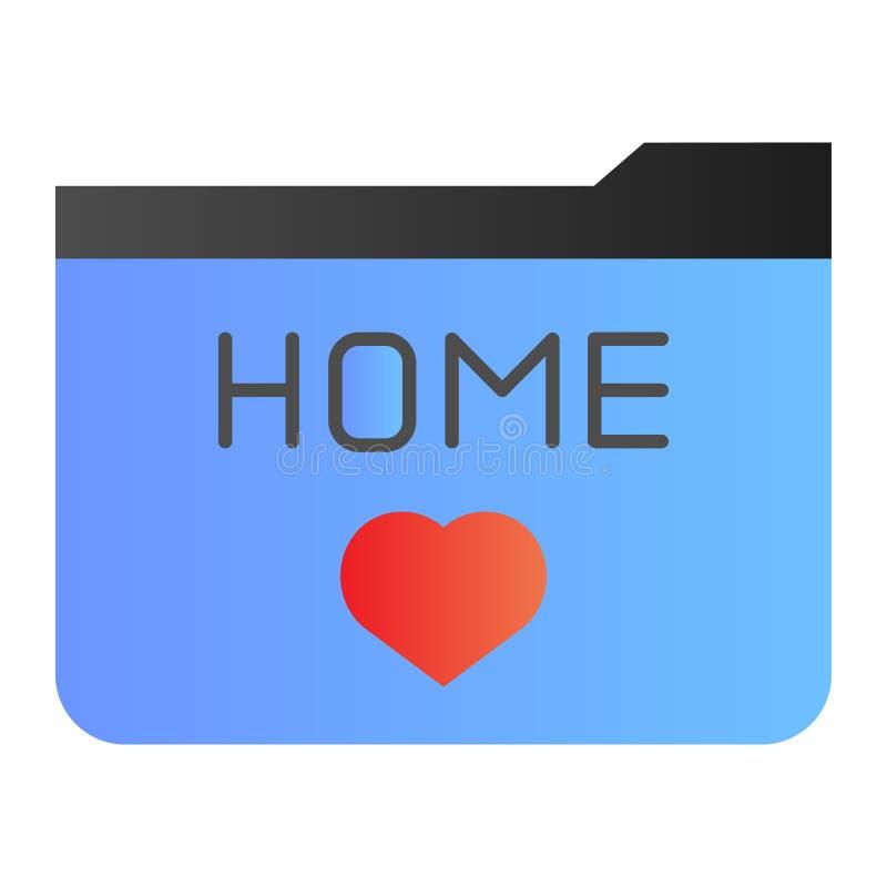 Flache Ikone des Hauptordners Ordnerlieblinge färben Ikonen in der modischen flachen Art Ordner mit Herzsteigungs-Artentwurf vektor abbildung