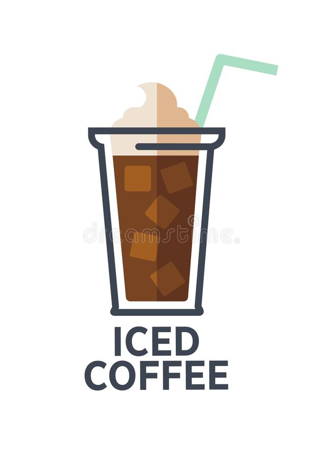 Flache Ikone des Kaffeegetränkschalen-Vektors für Mitnehmercafémenü lizenzfreie abbildung