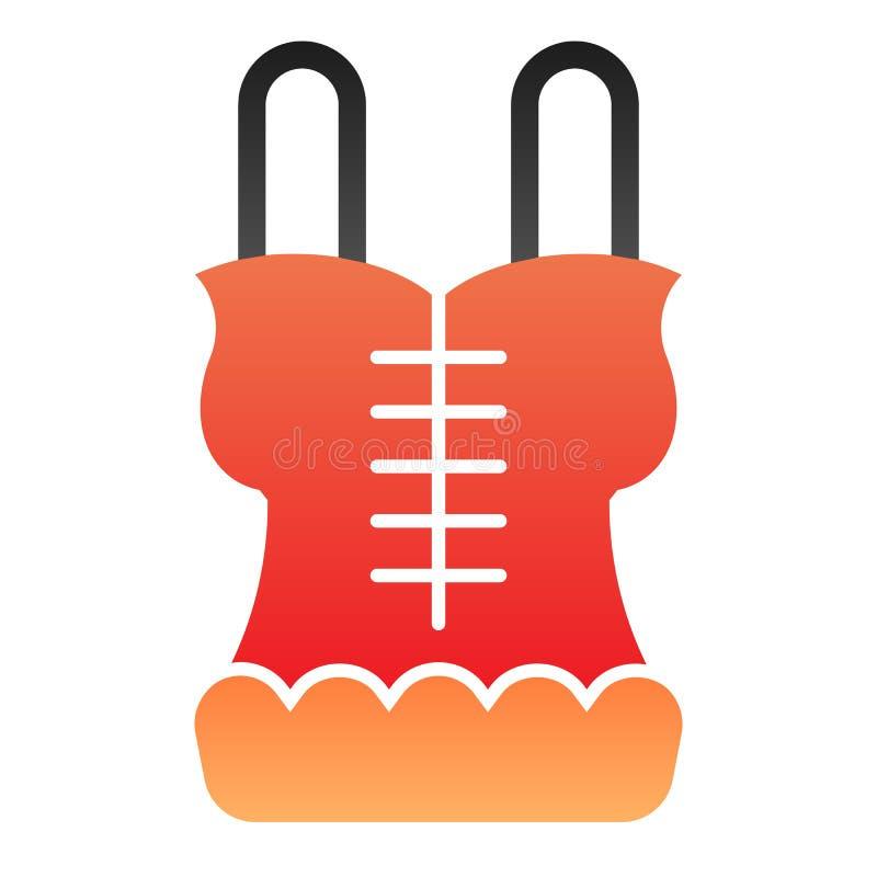 Flache Ikone des Korsetts Wäschefarbikonen in der modischen flachen Art Unterwäschesteigungs-Artentwurf, bestimmt für Netz und Ap lizenzfreie abbildung
