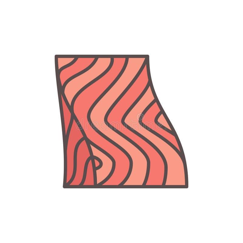 Flache Ikone des Lachssteaks Kreatives Symbol des VektorFischfilets stock abbildung