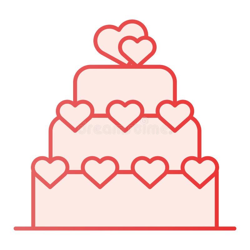 Flache Ikone des Liebeskuchens Valentinsgrußkuchen-Rosaikonen in der modischen flachen Art Überlagerter Kuchen mit Herzsteigungs- lizenzfreie abbildung