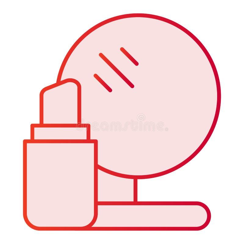 Flache Ikone des Lippenstifts und des Spiegels Rosa Ikonen des Makes-up in der modischen flachen Art Kosmetiksteigungs-Artentwurf stock abbildung