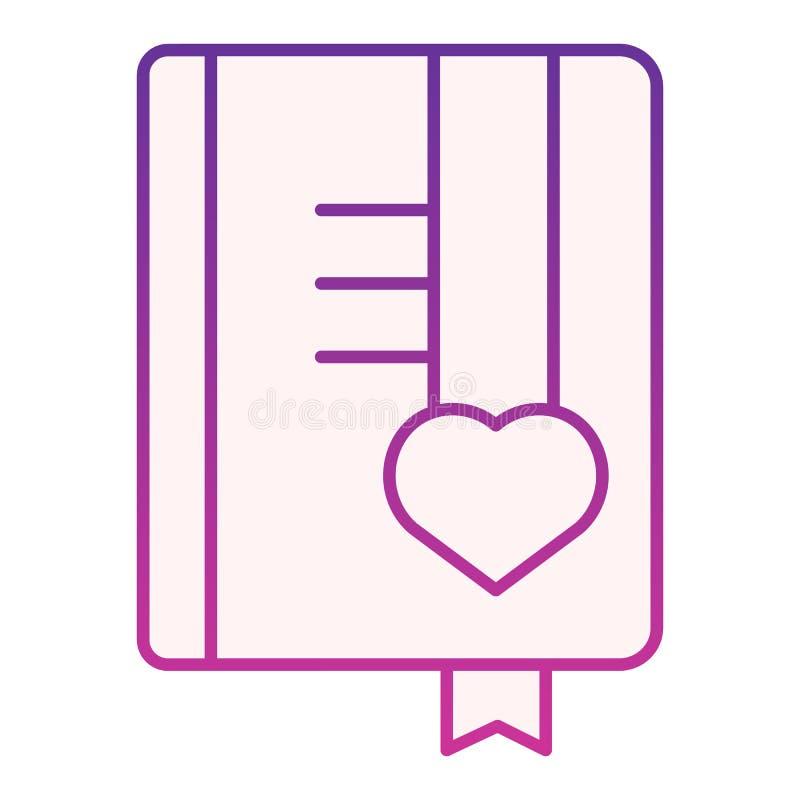Flache Ikone des Mädchentagebuchs Purpurrote Ikonen des Buches in der modischen flachen Art Notizblocksteigungs-Artentwurf, besti stock abbildung