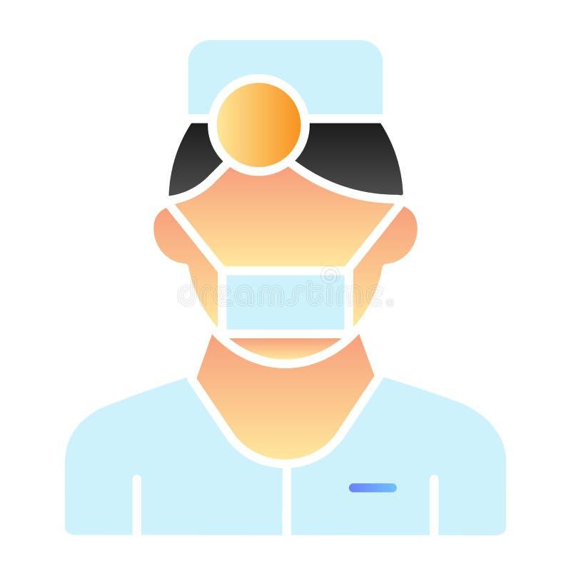Flache Ikone des Mediziners Mannfarbikonen in der modischen flachen Art Doktorsteigungs-Artentwurf, bestimmt für Netz und App ENV stock abbildung