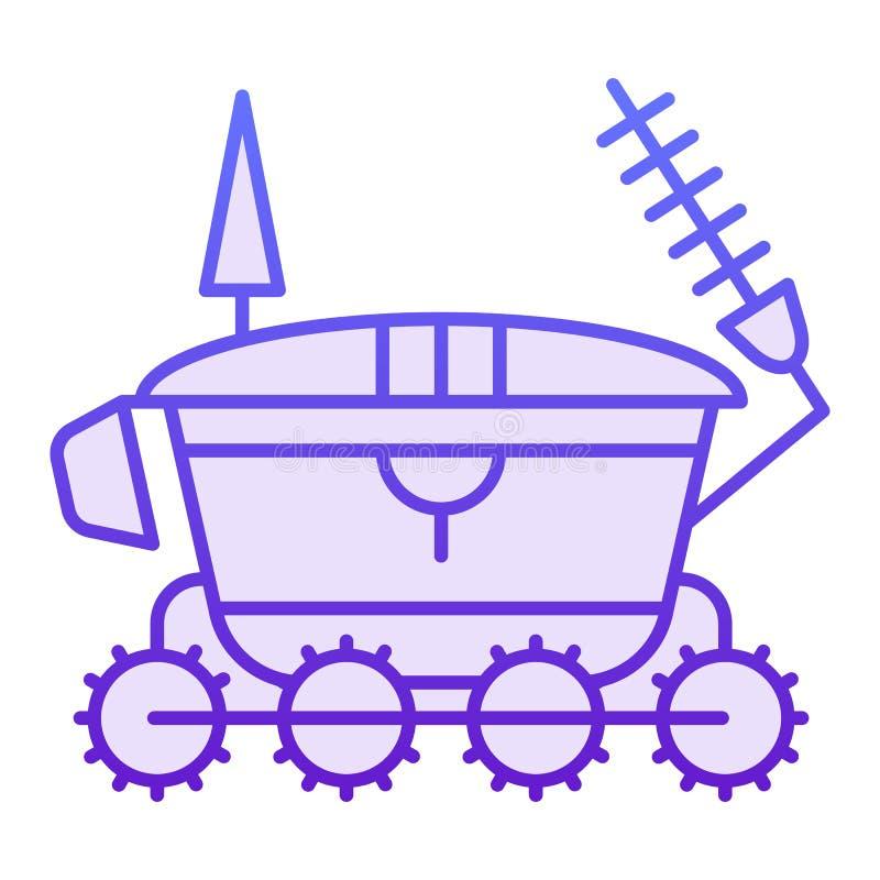 Flache Ikone des Mondvagabunden Violette Ikonen der Astronomie in der modischen flachen Art Raumfahrzeug-Steigungsartentwurf, bes lizenzfreie abbildung
