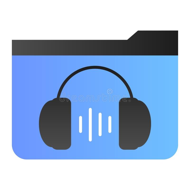 Flache Ikone des Musikordners Ordner mit Kopfhörern färben Ikonen in der modischen flachen Art Mediensteigungs-Artentwurf, entwor vektor abbildung