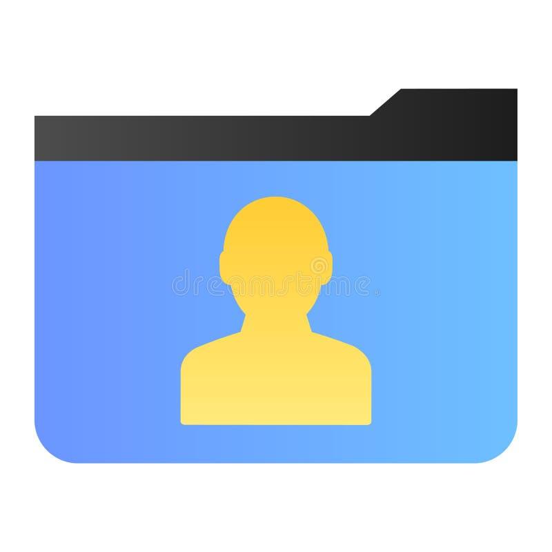 Flache Ikone des persönlichen Ordners Mitgliedsordner-Farbikonen in der modischen flachen Art Computerordnersteigungs-Artentwurf vektor abbildung