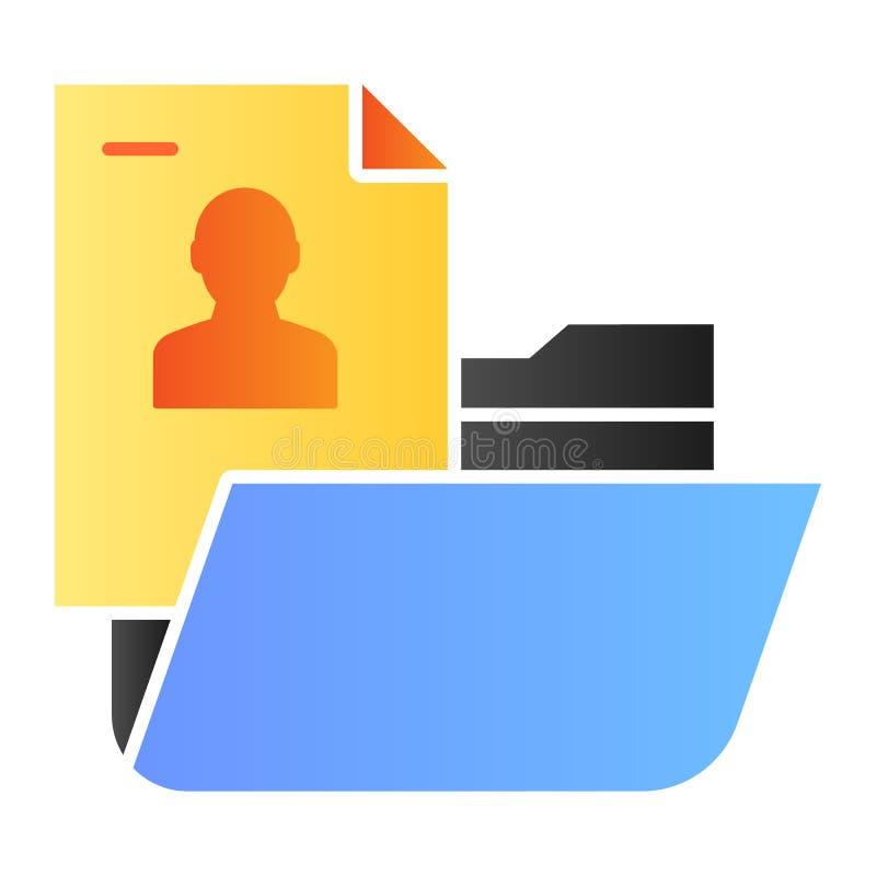Flache Ikone des persönlichen Ordners Ordner mit Ikonen der persönlichen Information Farbin der modischen flachen Art Computerord lizenzfreie abbildung