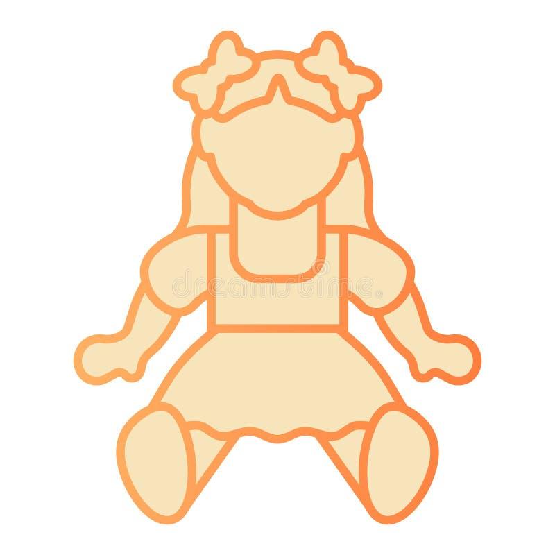 Flache Ikone des Puppenmädchens Orange Ikonen des Spielzeugs in der modischen flachen Art Kinderspielzeugsteigungs-Artentwurf, be stock abbildung