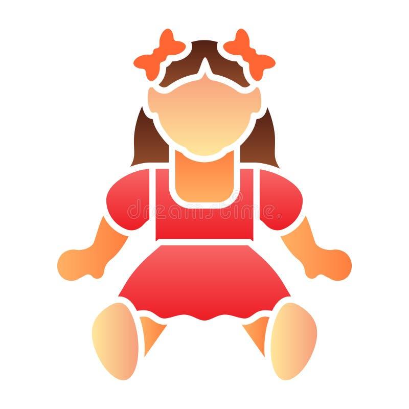 Flache Ikone des Puppenmädchens Spielzeugfarbikonen in der modischen flachen Art Kinderspielzeugsteigungs-Artentwurf, bestimmt fü stock abbildung