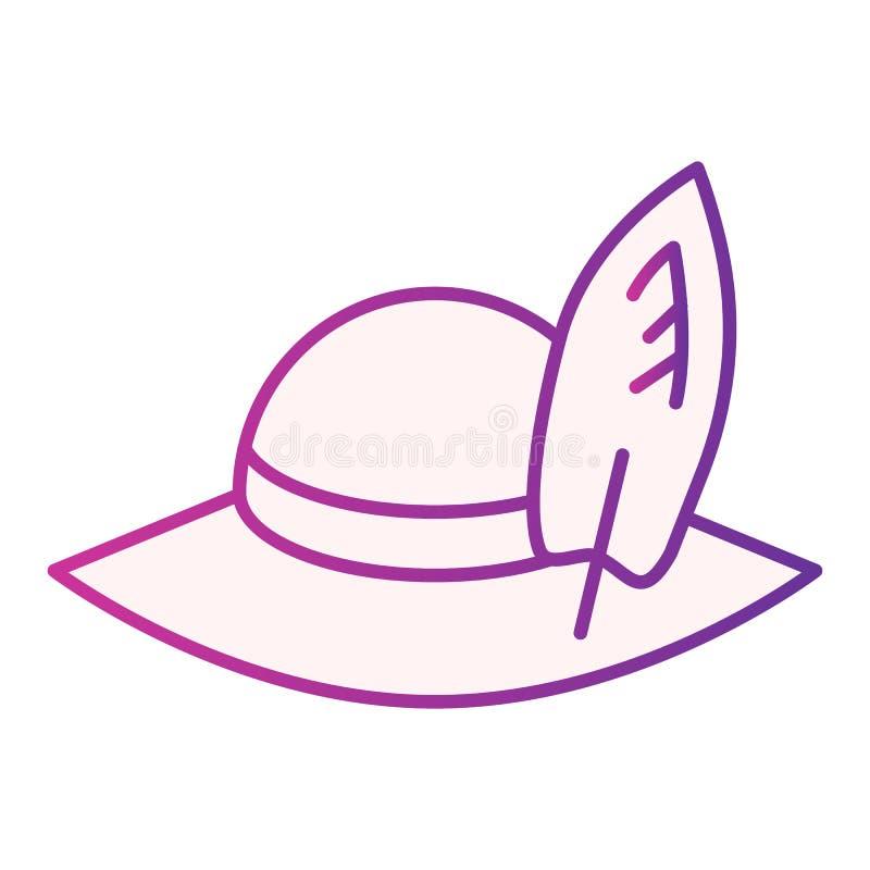 Flache Ikone des Reisendhutes Purpurrote Ikonen Strandpanama-Hutes in der modischen flachen Art Kappensteigungs-Artentwurf, besti stock abbildung