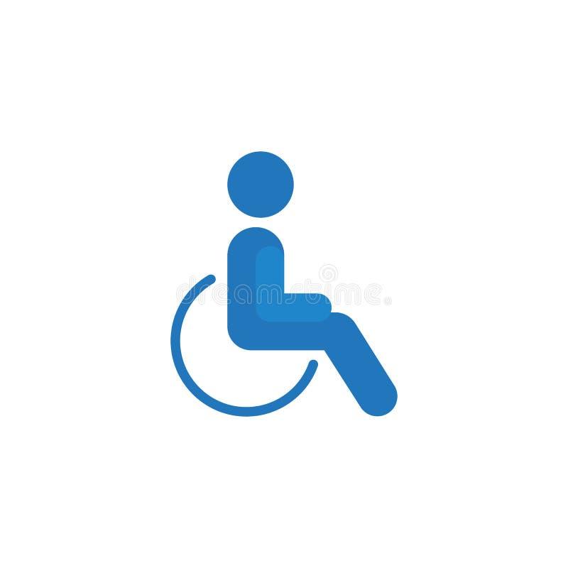 Flache Ikone des Rollstuhl-Handikaps lizenzfreie abbildung