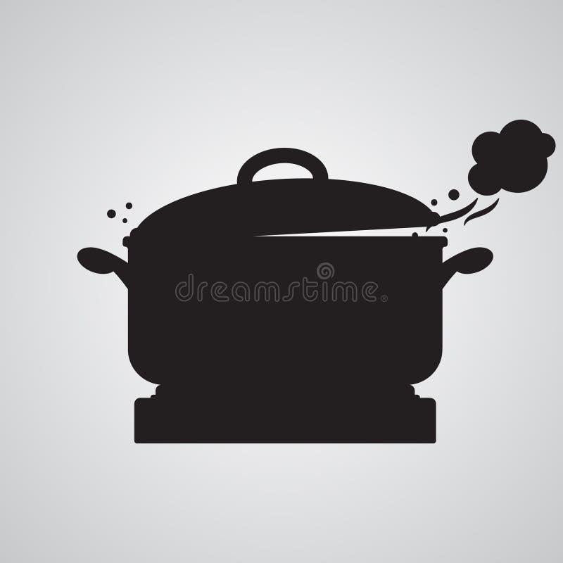Flache Ikone des Schattenbildes, einfaches Vektordesign Pan auf Kocher mit h vektor abbildung