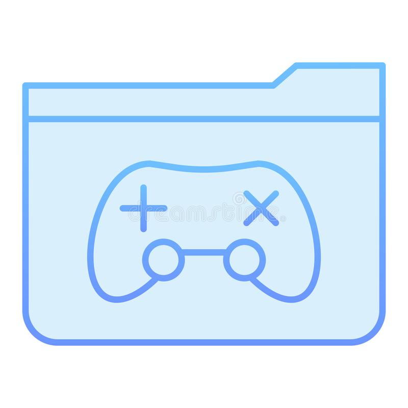 Flache Ikone des Spielordners Ordner mit blauen Ikonen der Spielauflage in der modischen flachen Art Computerordnersteigungs-Arte lizenzfreie abbildung