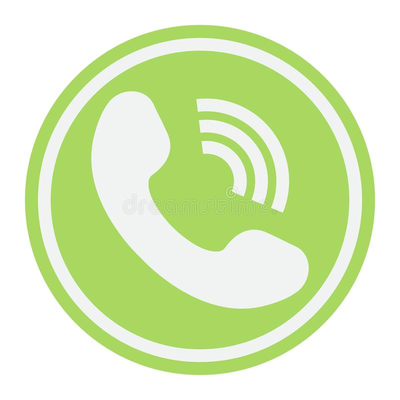 Flache Ikone des Telefon-Anrufs, treten uns und mit Website in Verbindung lizenzfreie abbildung