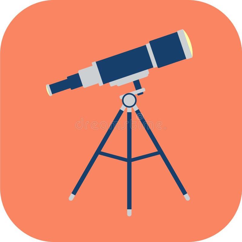 Flache Ikone des Teleskops lizenzfreies stockfoto