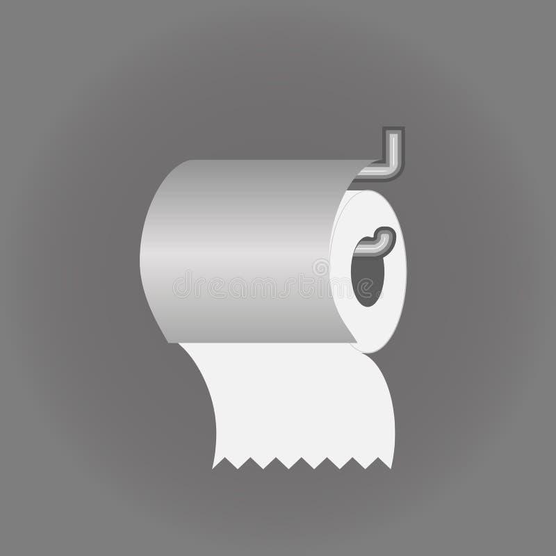 Flache Ikone des Toilettenpapiers mit realistischem Vektor des Halters lizenzfreie abbildung