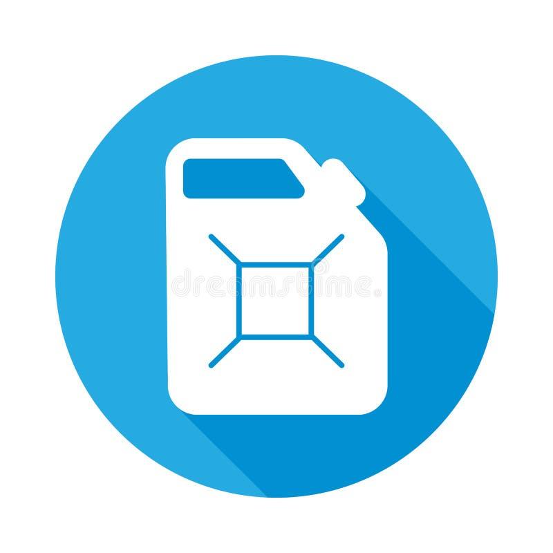 flache Ikone des Treibstoffbrennstoff-Kanisters mit langem Schatten Element der Autoreparaturservice-Illustration Grafische Ikone lizenzfreie abbildung