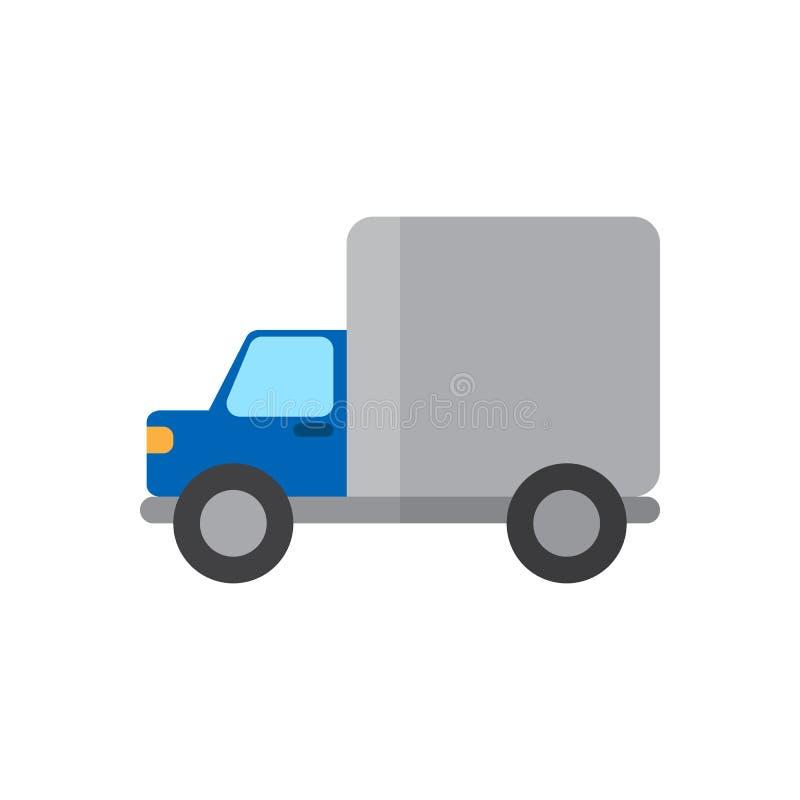 Flache Ikone des Versand-LKWs, gefülltes Vektorzeichen, buntes Piktogramm lokalisiert auf Weiß lizenzfreie abbildung