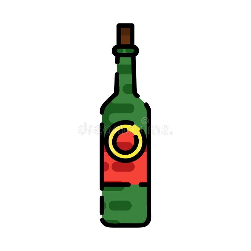 Flache Ikone des Weins vektor abbildung