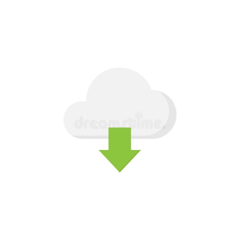 Flache Ikone des Wolkendownloads stock abbildung