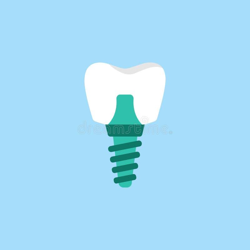 Flache Ikone des Zahnimplantats lizenzfreie abbildung