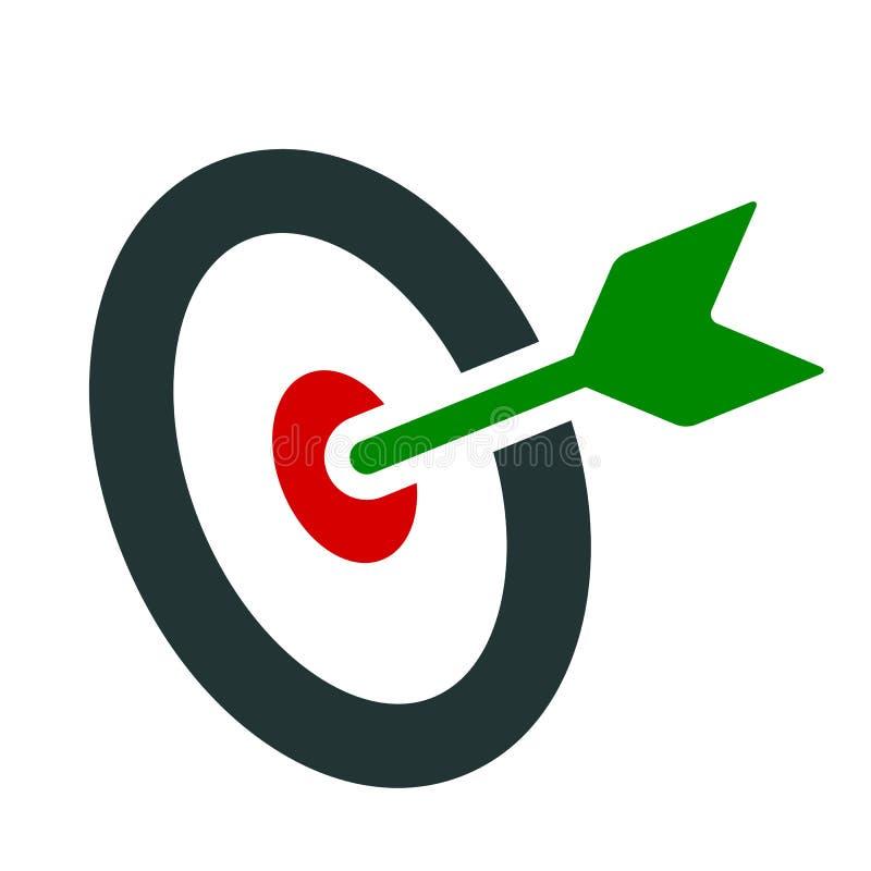Flache Ikone des Ziels - Vektor lizenzfreie abbildung