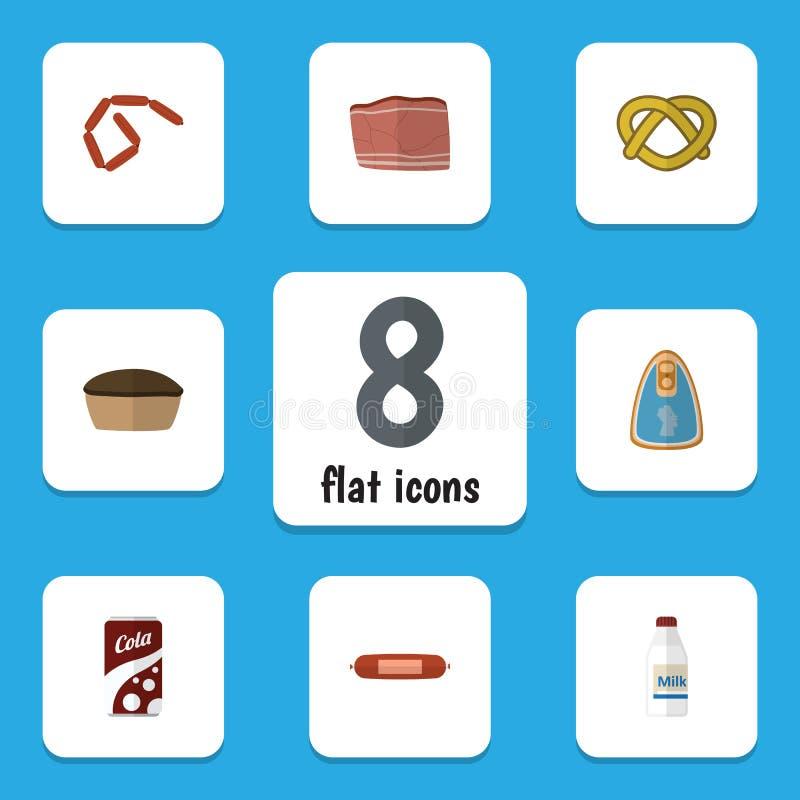 Flache Ikone, die Satz Bratwurst, sprudelndes Getränk, eingemachtes Huhn und andere Vektor-Gegenstände isst Schließt auch Plätzch vektor abbildung