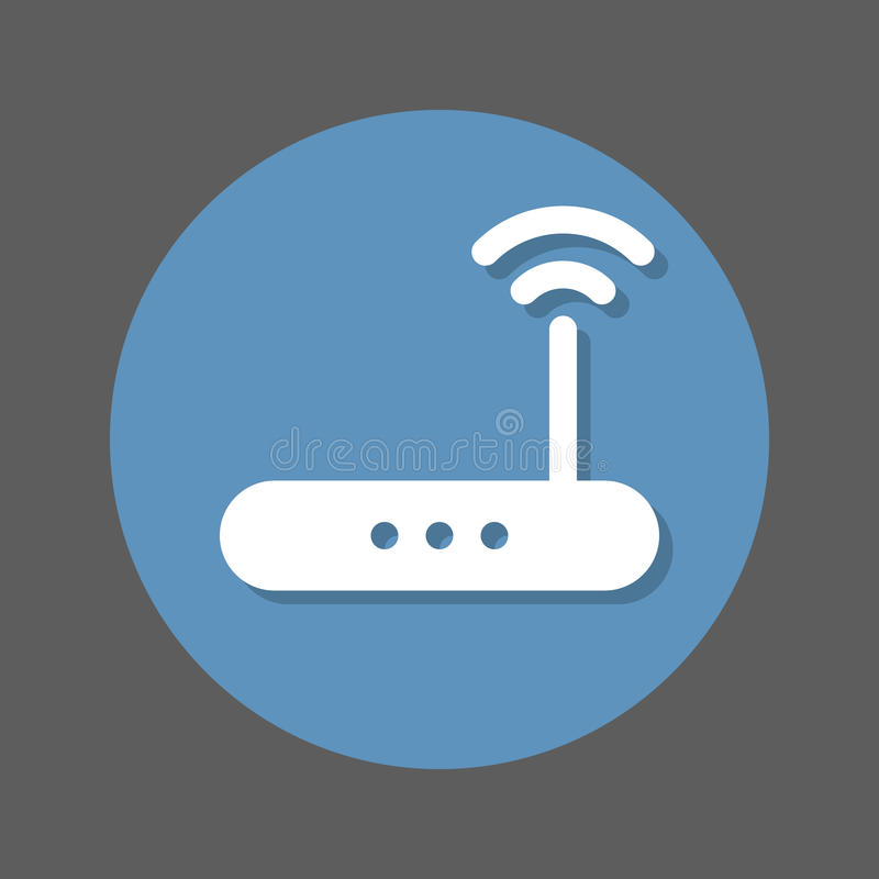 Flache Ikone drahtlosen Wi-Firouters Runder bunter Knopf des Hochgeschwindigkeitsinternetanschlusses, Kreisvektorzeichen mit Scha lizenzfreie abbildung