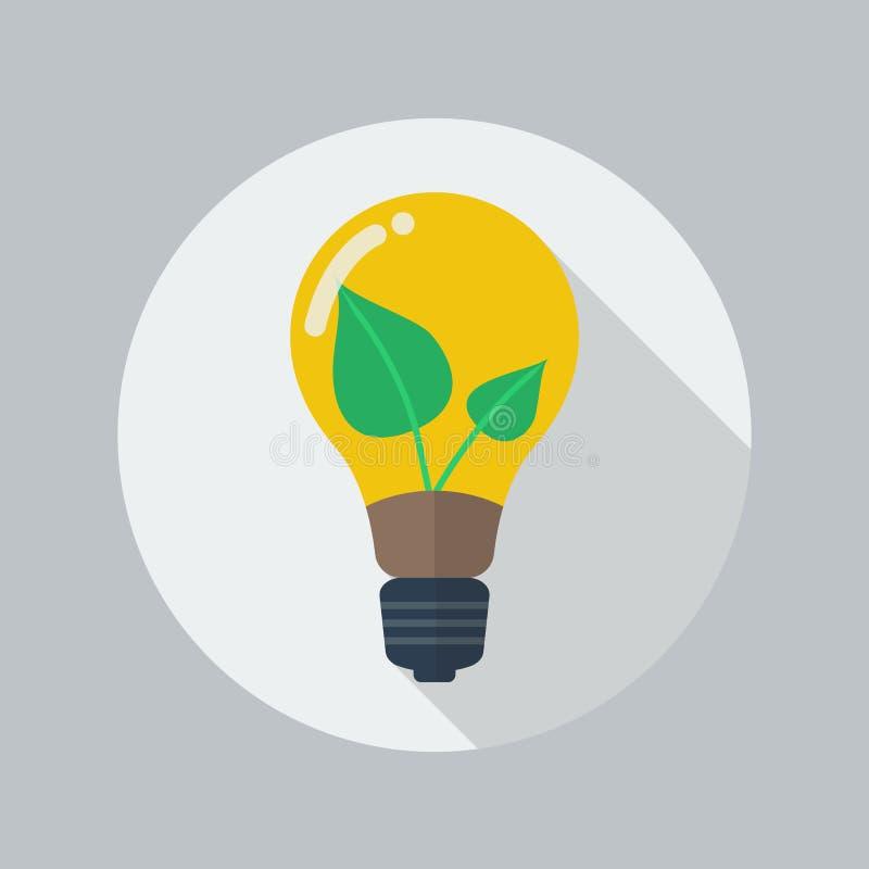Flache Ikone Eco Grüne Energie stock abbildung