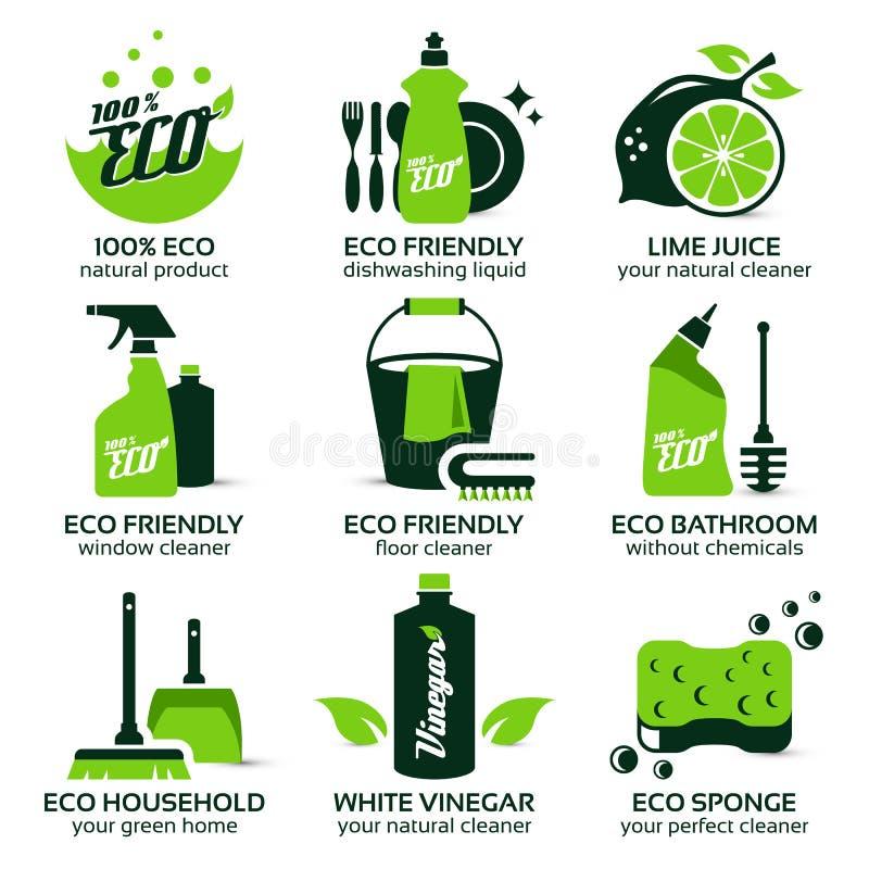 Flache Ikone eingestellt für grüne eco Reinigung vektor abbildung