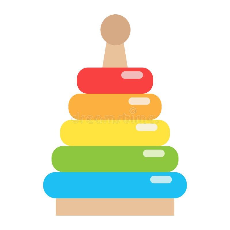 Flache Ikone, Kind und Spiel des Regenbogenpyramidenspielzeugs vektor abbildung