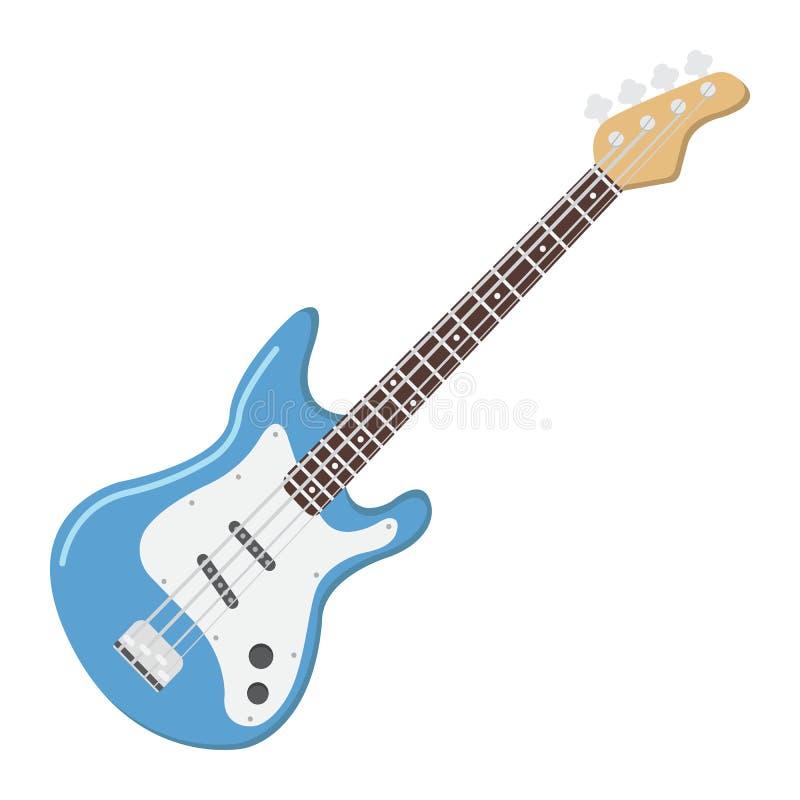 Flache Ikone, Musik und Instrument der Bass-Gitarre, vektor abbildung