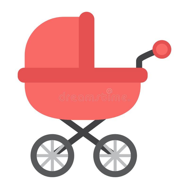Flache Ikone, Pram und Kinderwagen des Kinderwagens lizenzfreie abbildung
