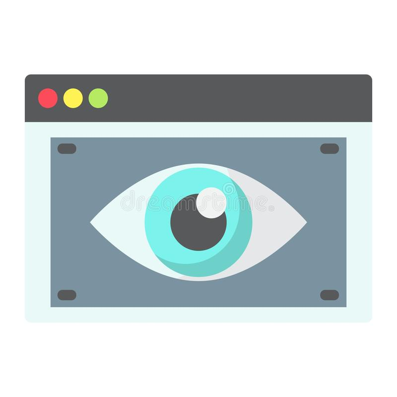 Flache Ikone, seo und Entwicklung der Netz-Sicht stock abbildung