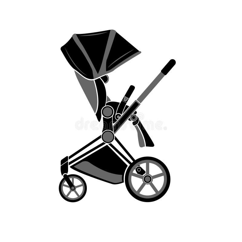 Flache Ikone Spaziergänger für das Gehen mit einem kleinen Kind lokalisiert auf einem weißen Hintergrund vektor abbildung