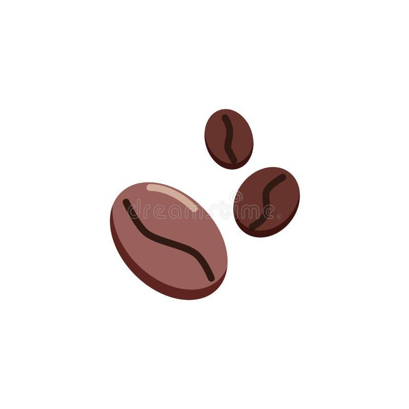 Flache Ikone von drei Kaffeebohnen stock abbildung