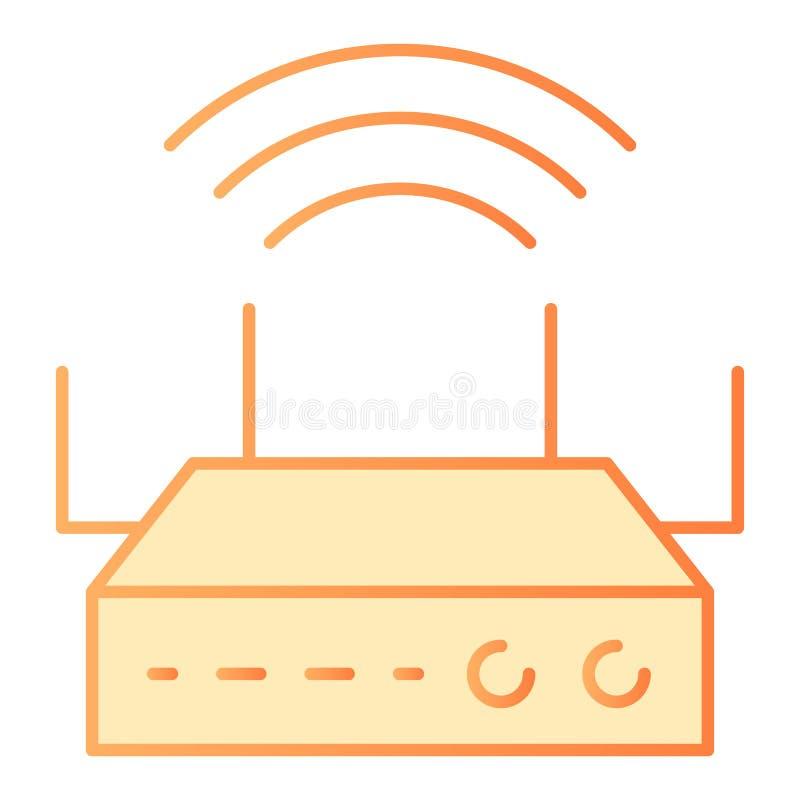 Flache Ikone Wi-Fiabdeckung Orange Ikonen des drahtlosen Routers in der modischen flachen Art Internet-Steigungsartentwurf, entwo lizenzfreie abbildung
