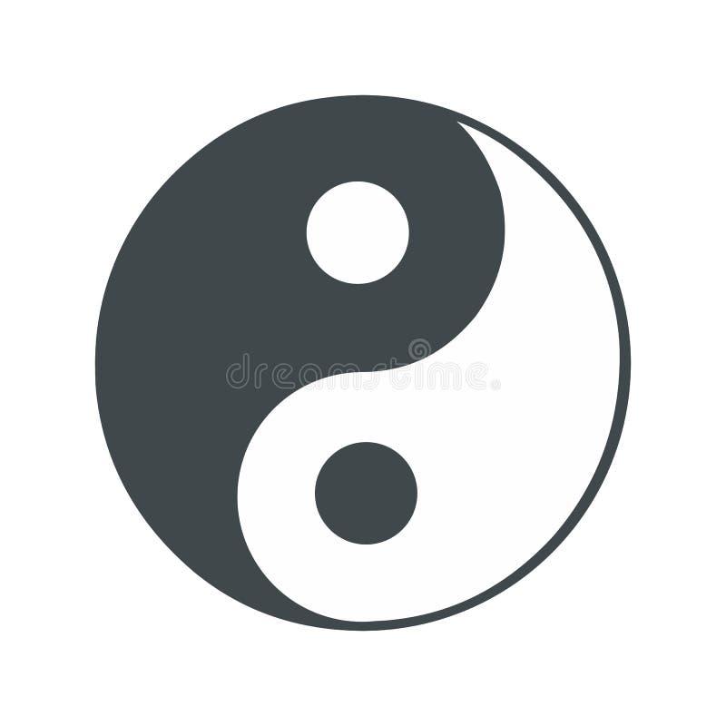 Flache Ikone Ying Yang stock abbildung