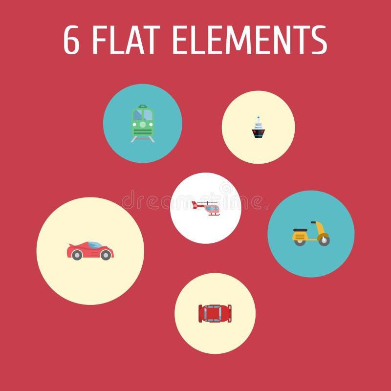 Flache Ikonen Automobil, Zerhacker, Roller und andere Vektor-Elemente Satz Fahrzeug-flache Ikonen-Symbole umfasst auch stock abbildung