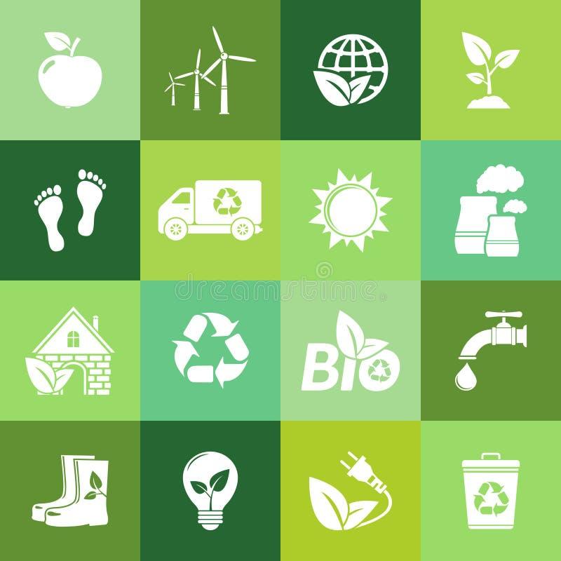 Flache Ikonen der Ökologie stock abbildung