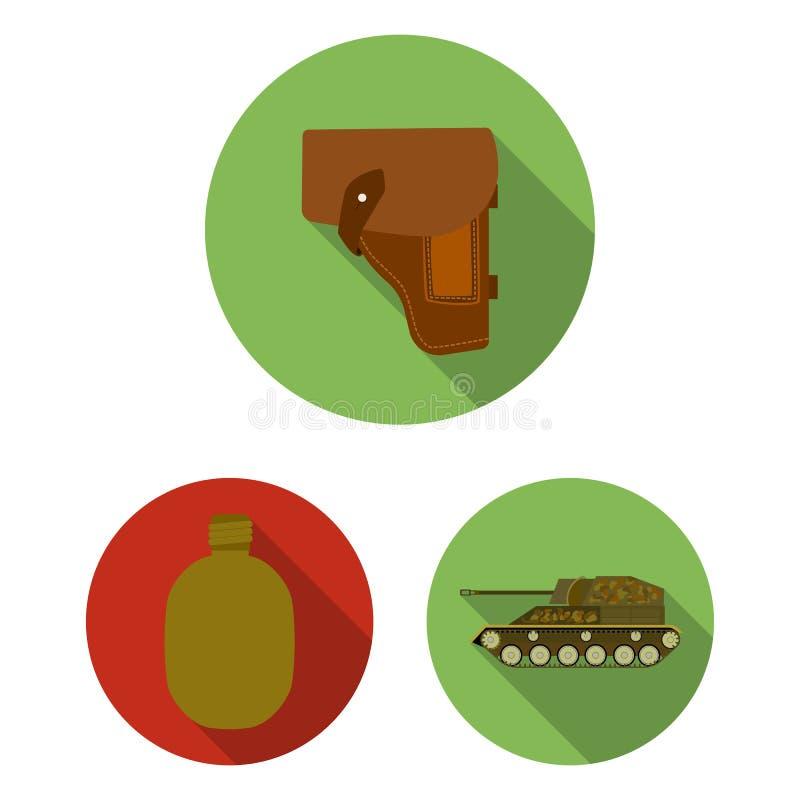 Flache Ikonen der Armee und der Bewaffnung in der Satzsammlung für Design Waffen und Ausrüstung vector Netzillustration des Symbo lizenzfreie abbildung