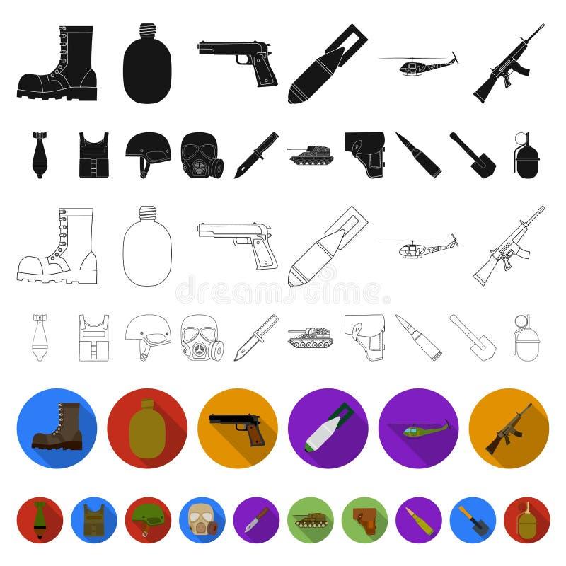 Flache Ikonen der Armee und der Bewaffnung in der Satzsammlung für Design Waffen und Ausrüstung vector Netzillustration des Symbo stock abbildung