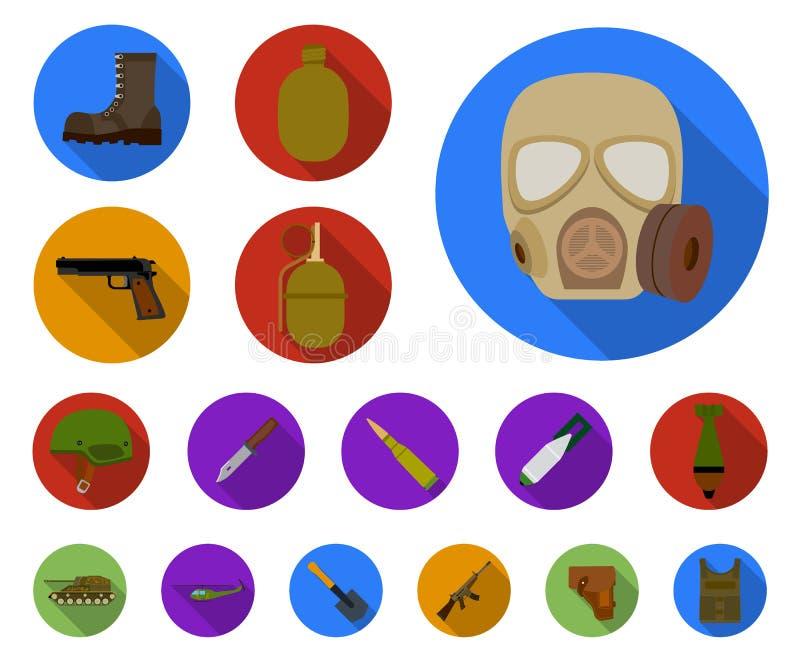Flache Ikonen der Armee und der Bewaffnung in der Satzsammlung für Design Waffen und Ausrüstung vector Netzillustration des Symbo vektor abbildung