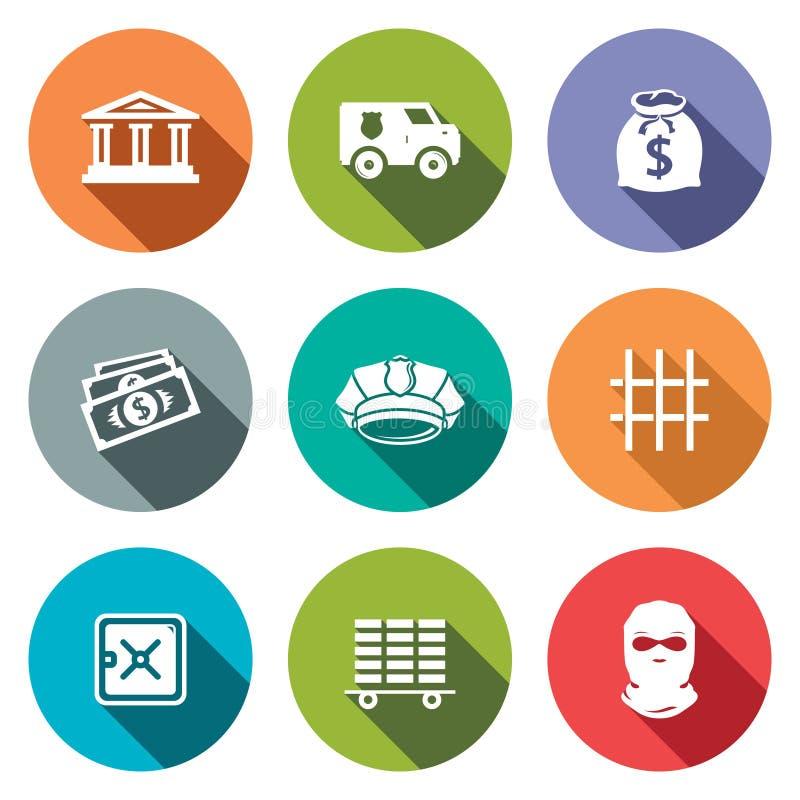 Flache Ikonen der Bank eingestellt lizenzfreie abbildung