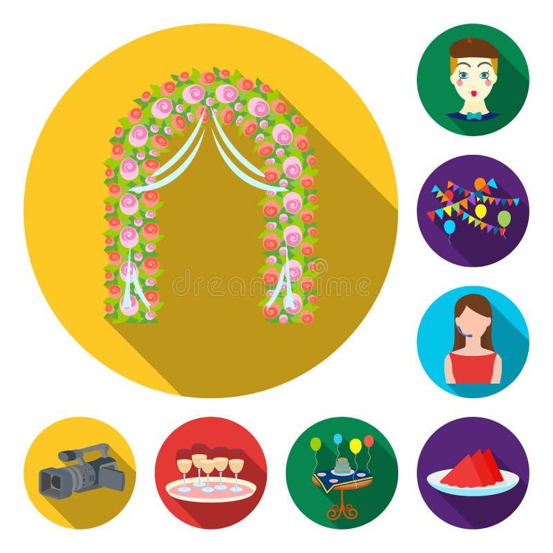 Flache Ikonen der Ereignis-Organisation in der Satzsammlung für Design Feier- und Attributvektorsymbol-Vorratnetz stock abbildung